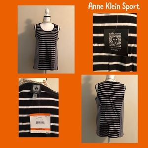 NWT Trendy B & W Anne Klein Sport Striped Top (M)